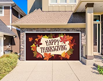 Outdoor Thanksgiving Holiday Garage Door Banner Cover Mural Décoration - Happy Thanksgiving Fall Leaves - Outdoor & Amazon.com: Outdoor Thanksgiving Holiday Garage Door Banner Cover ...