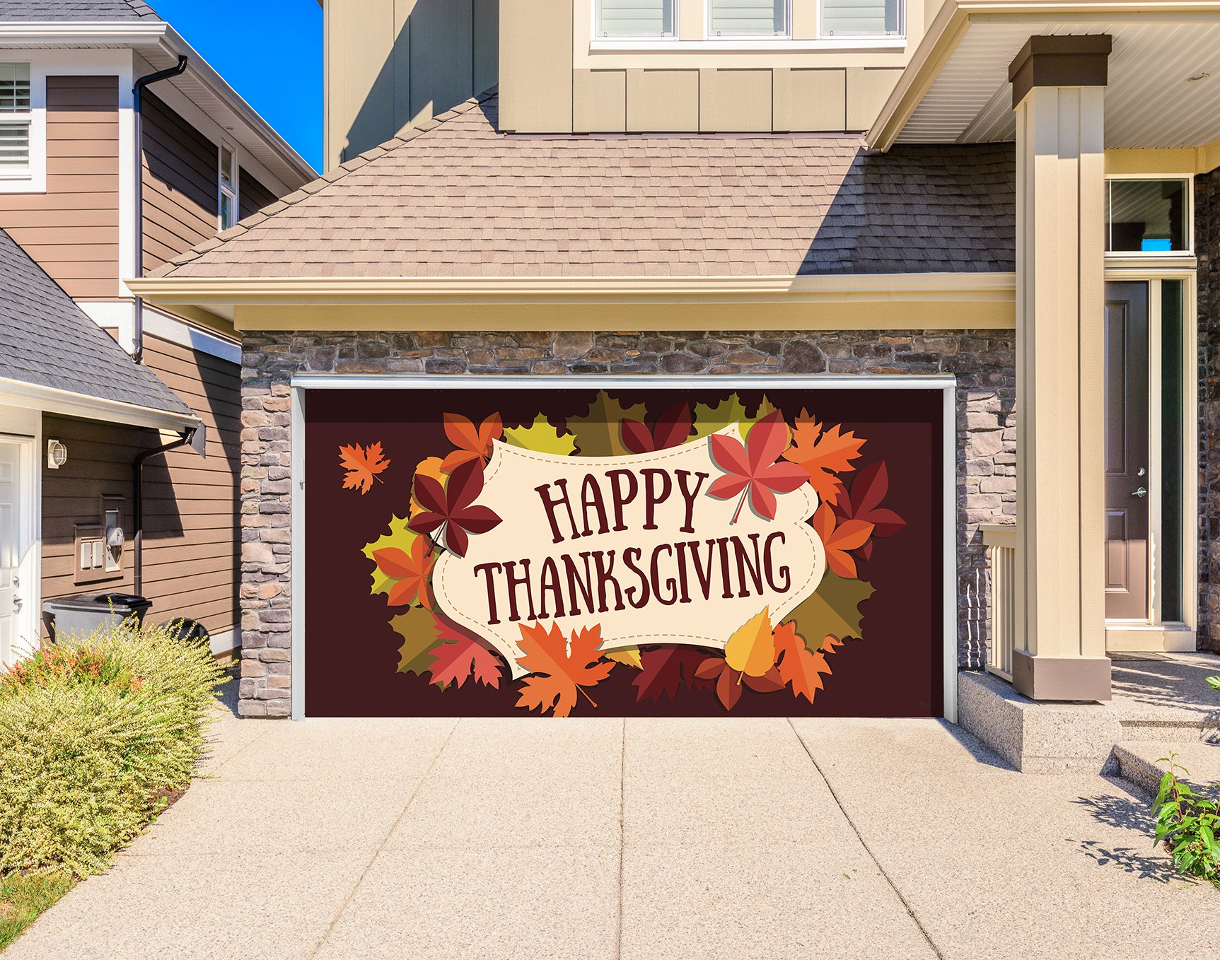 Outdoor Thanksgiving Holiday Garage Door Banner Cover Mural Décoration - Happy Thanksgiving Fall Leaves - Outdoor Thanksgiving Holiday Garage Door Banner Décor Sign 8' x 16'