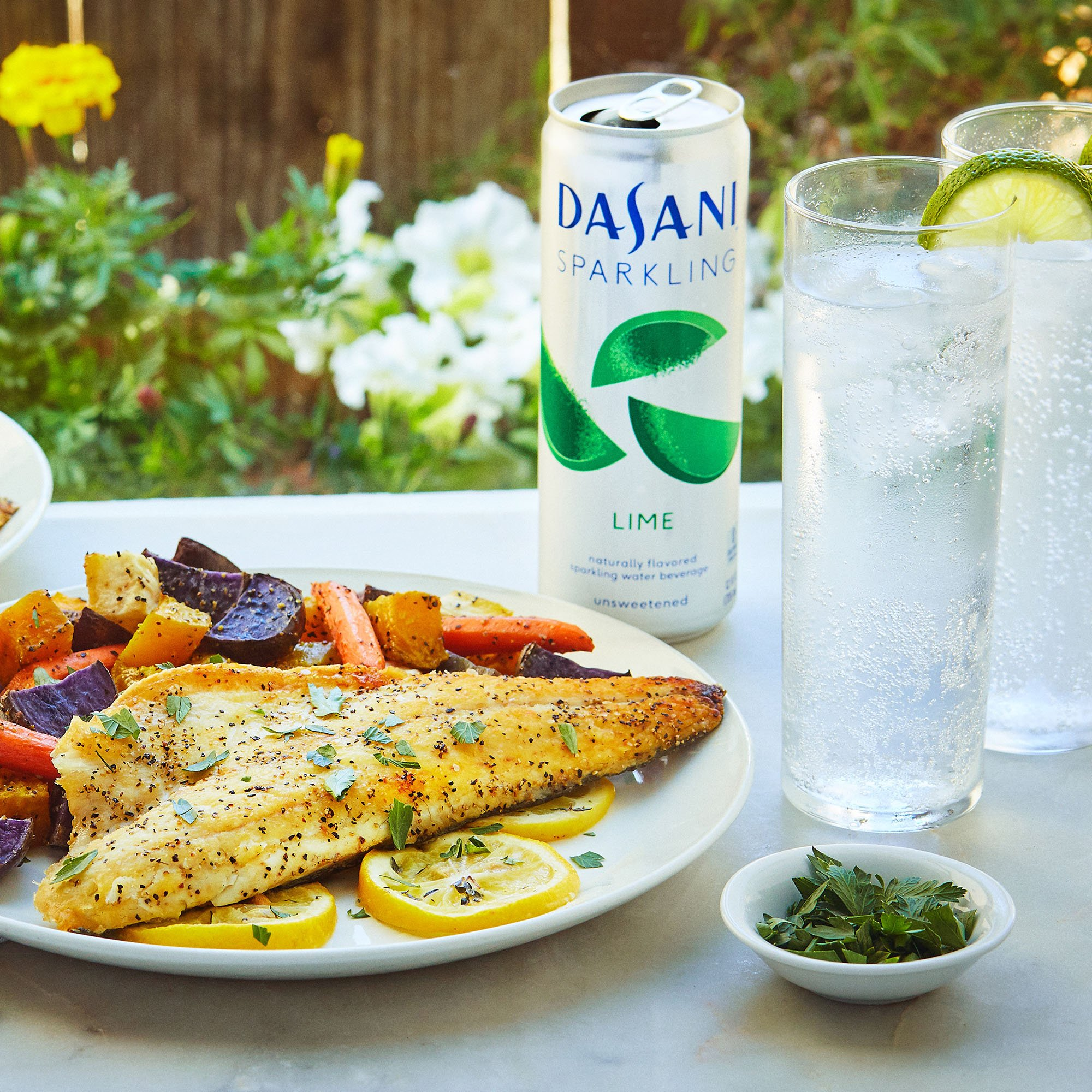Pan Seared Branzino with Roasted Vegetables by Chef'd with DASANI Sparkling (Dinner for 4)