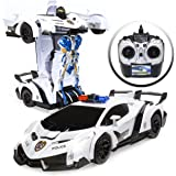 Best Choice Products 1/12 Scale Transforming RC Police Car Robot Toy Sports Remote Control Car w/ Lights, Siren - White