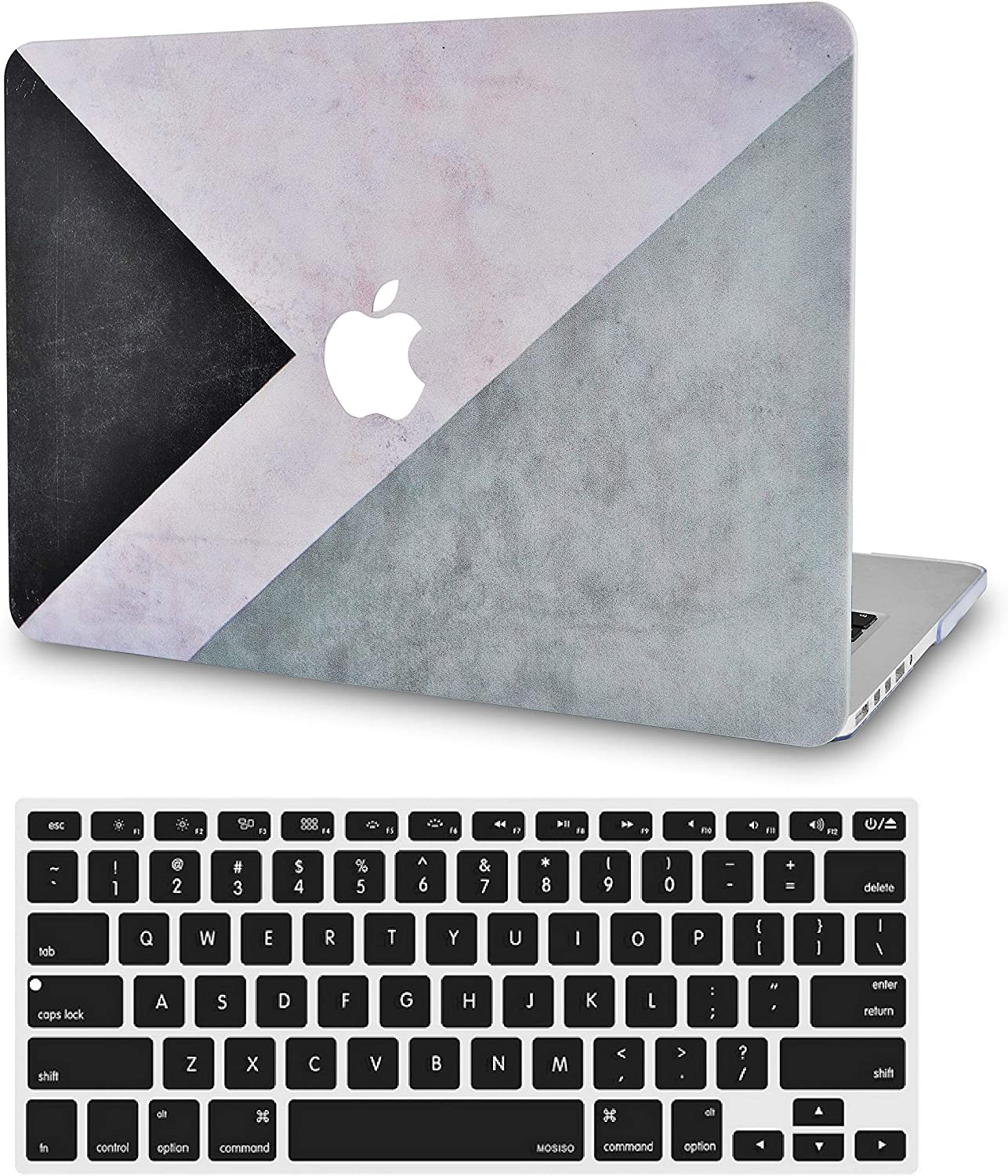 LuvCase 2 in 1 Laptop Case for MacBook Pro 15 Touch Bar (2019/2018/2017/2016) A1990/A1707 Rubberized Plastic Hard Shell Cover & Keyboard Cover (Black White Grey)