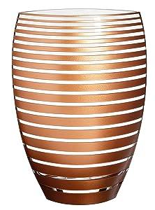 Lusso grande dipinto a mano vaso di vetro–decorato a righe con sabbiato e strisce dorate su un lato–Decorazione–Vaso decorativo in vetro soffiato a bocca senza piombo–30cm (30cm)