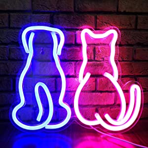 LED Neon Sign Cat Dog Light Sign 11.7'' Kitten Puppy Couple LED Sign USB Neon Signs for Bedroom Wall Décor Pet Lover Gift, Decorative Night Light Gift for Wedding, Birthday Party, Pet House Decor