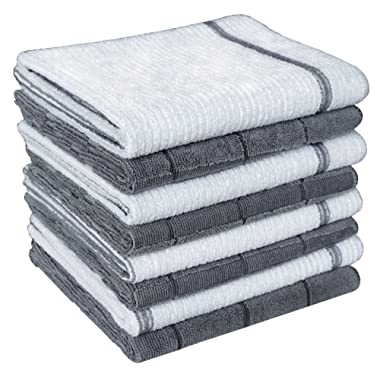 Gryeer Microfiber Dish Towels - 8 Pack (Check and Stripe Designed) - Soft, Super Absorbent and Lint Free Kitchen Towels, 26 x 18 Inch, Gray