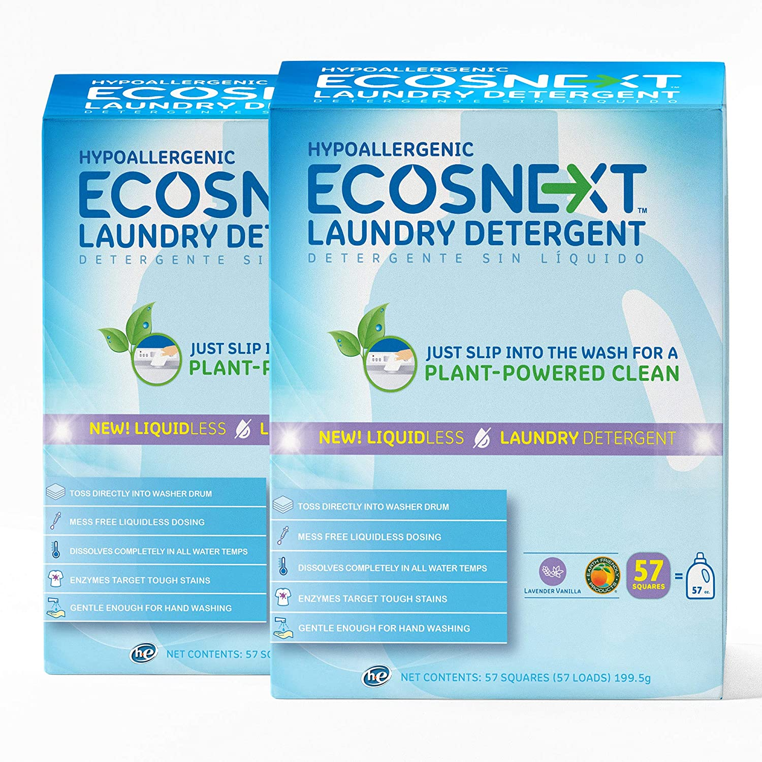 ECOSNext™ Liquidless Laundry Detergent Squares, Lavender Vanilla, 57 Count, Pack of 2