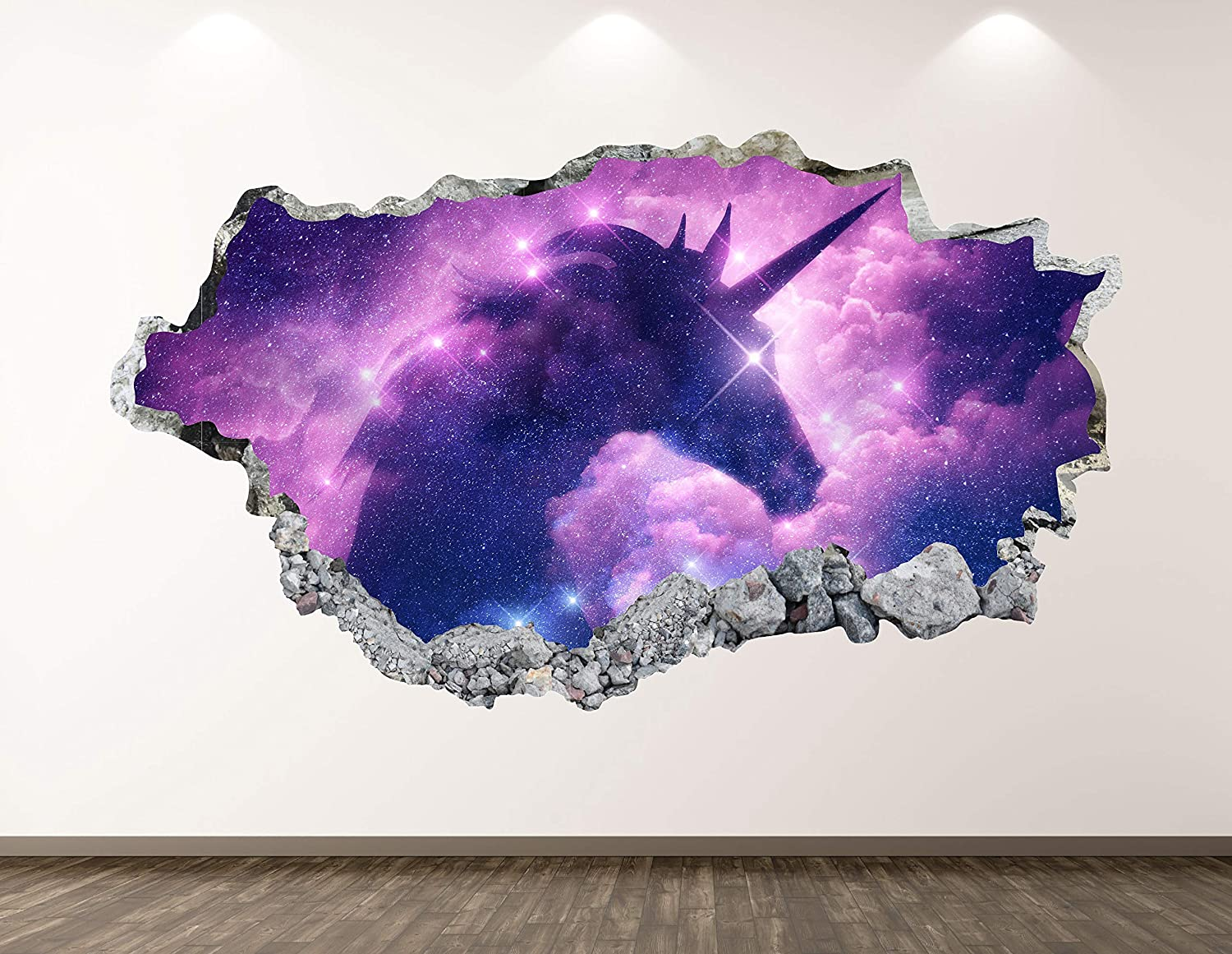 """West Mountain Unicorn Wall Decal Art Decor 3D Smashed Mythical Creature Sticker Poster Kids Room Mural Custom Gift BL358 (22"""" W x 14"""" H)"""