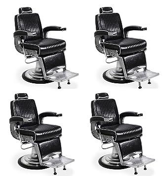 Barber Chair Set Of 4 KENNEDY Luxury Pattern White Trim Barbershop Choice  Best Seller Barber Chair