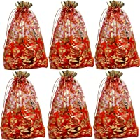 Evisha 25pcs Net Jari Potli Pouch Bag Red Size 23*16 cm