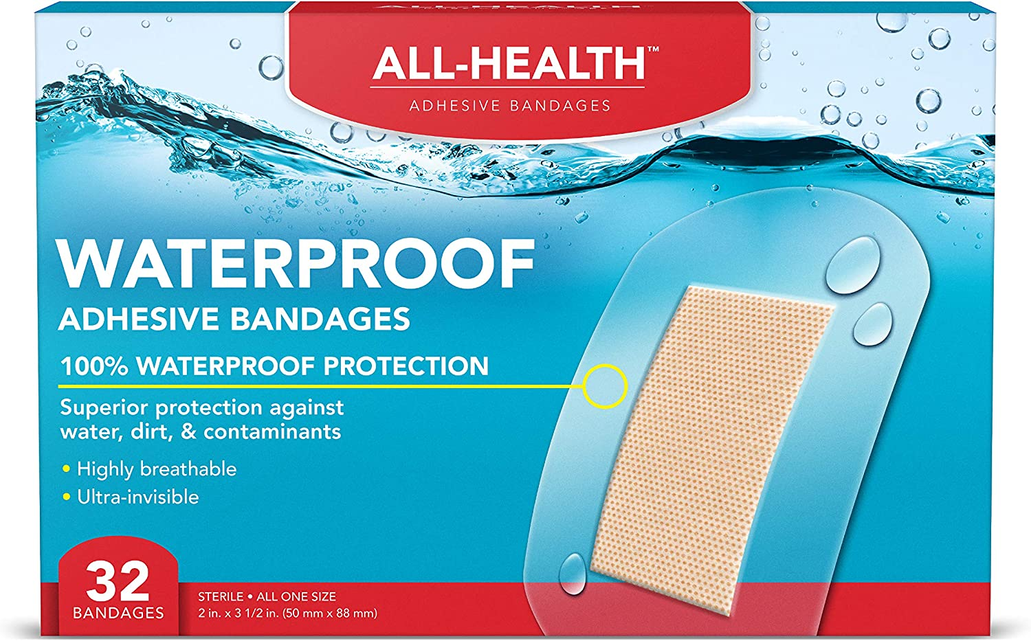All Health Clear Waterproof Adhesive Bandages, Extra Large 2 in x 3 1/2 in, 32 Count | 100% Waterproof First Aid for Minor Cuts & Scrapes
