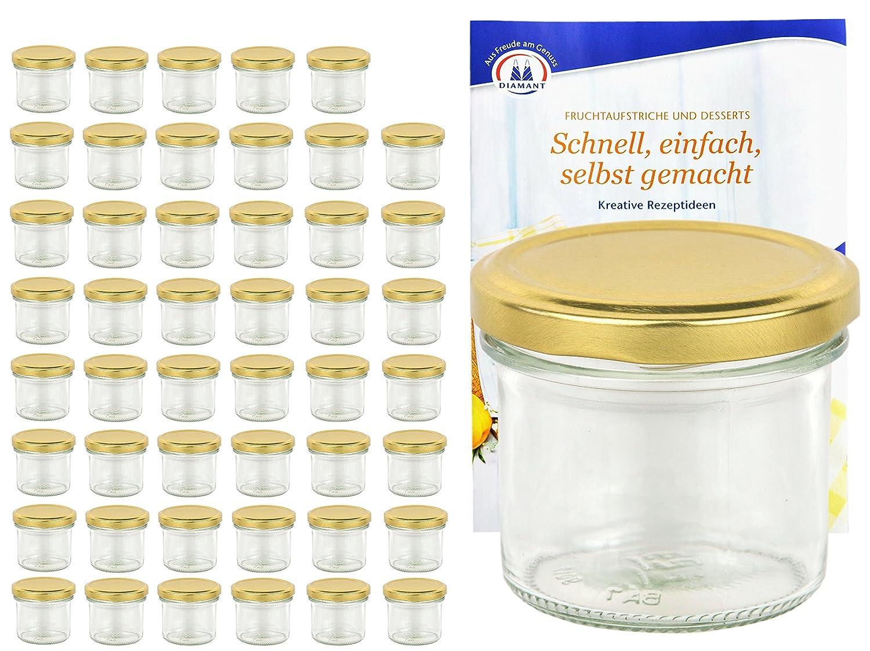 Diamant Gelierzauber Rezeptheft Marmeladengl/äser Einmachgl/äser Einweckgl/äser MamboCat 48er Set Sturzgl/äser 125 ml mit Goldenem Deckel to 66 inkl
