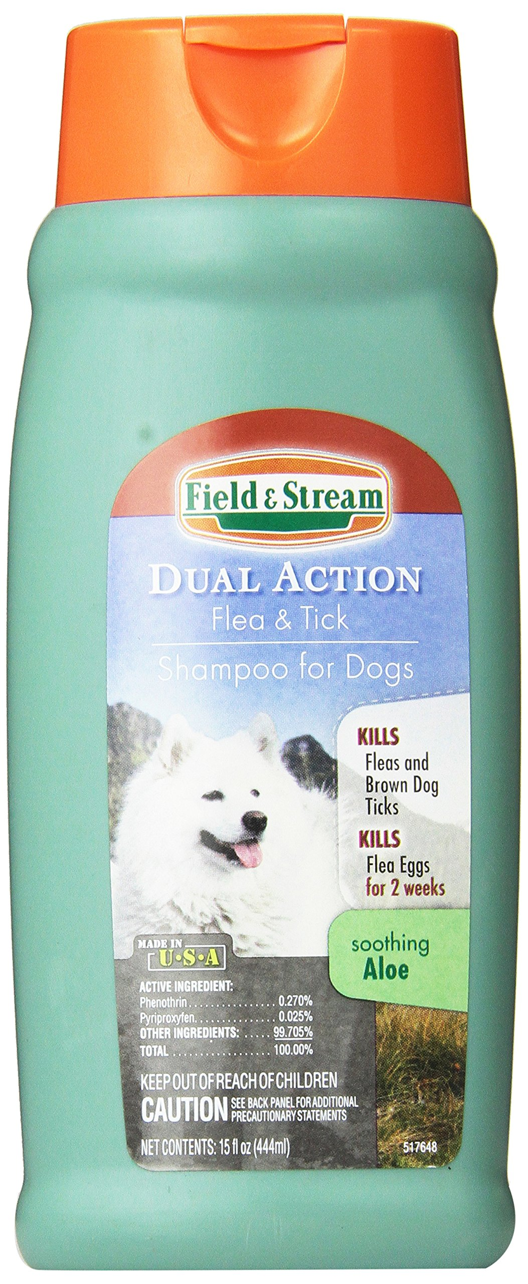 Field & Stream Dual Action Flea and Tick Shampoo for Dogs, 15-Ounce