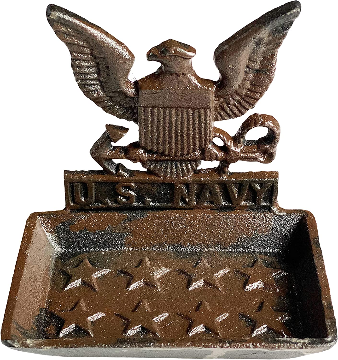 Urbalabs Heavy Duty Cast Iron Military Hand Bar Soap Holder, Ring Dish, Jewelry Holder Decorative Tray Home Decor Accents and Vanity Decor USMC, Army, Marines, Navy and Air Force (Navy)