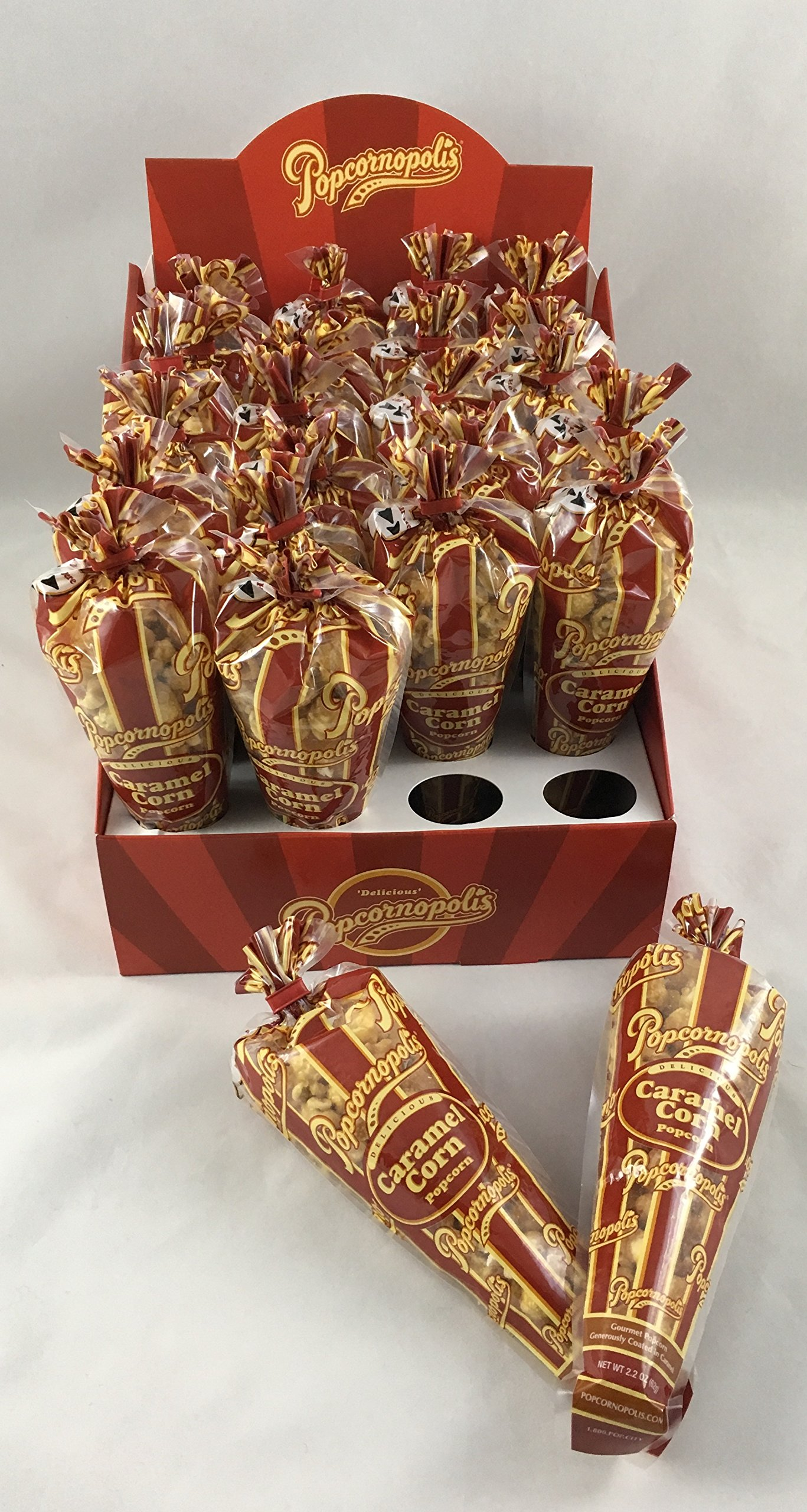 Popcornopolis Caramel Mini Cones 24ct. with Display Box, Great for Party Favors, & Snackrooms by Popcornopolis (Image #2)
