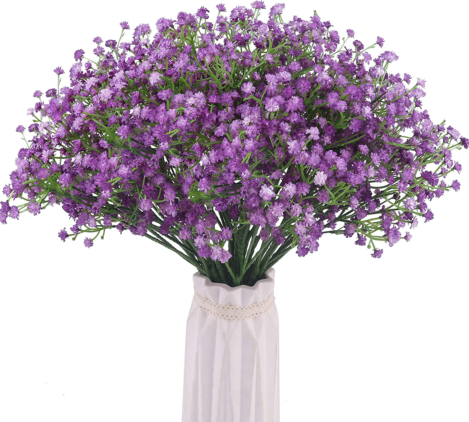 BOMAROLAN Artificial Baby Breath Flowers Fake Gypsophila Bouquets 12 Pcs Fake Real Touch Flowers for Wedding Decor DIY Home Party(Purple)
