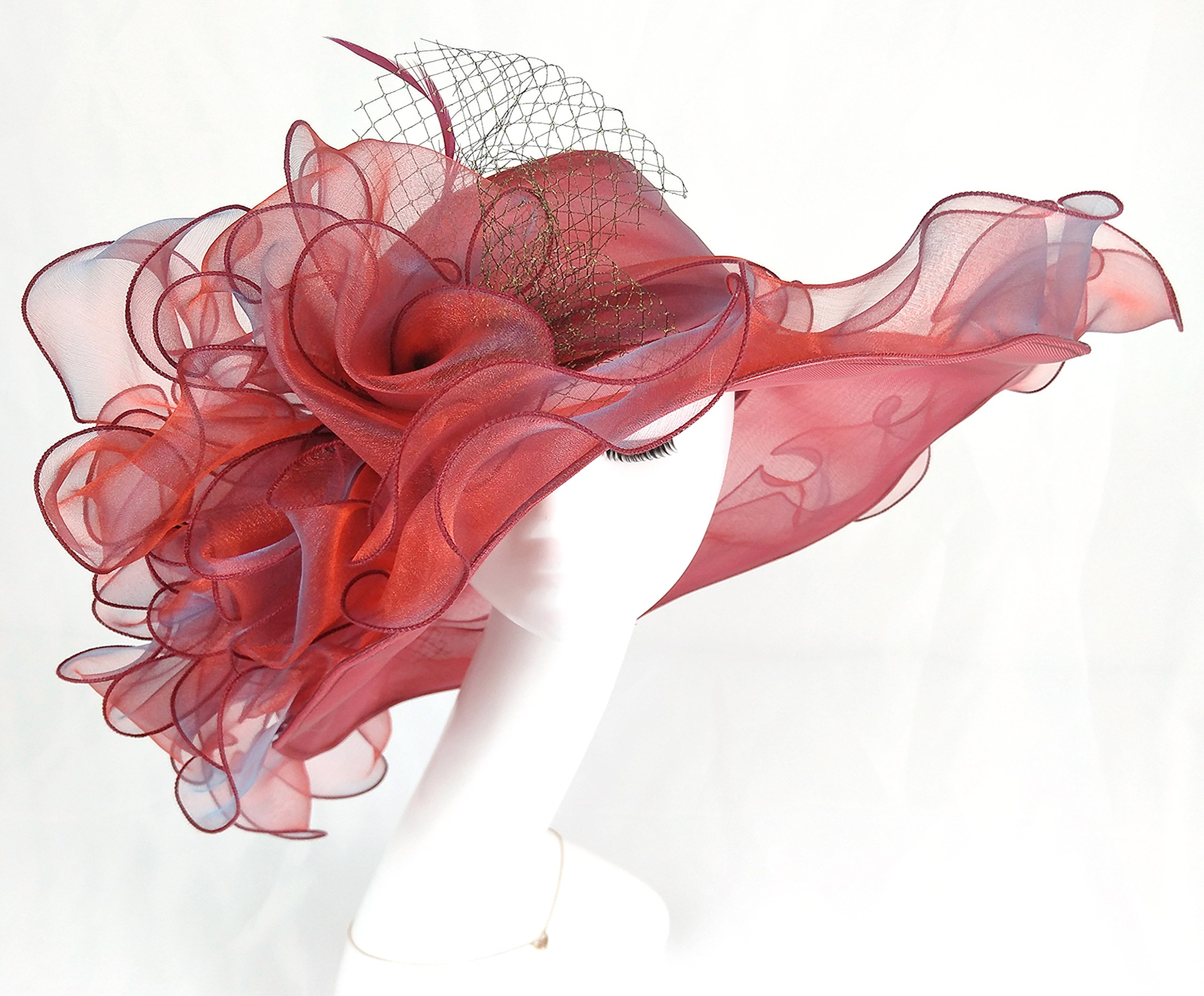 Seven Flowers Kentucky Derby Hats for Women Church Ladies Wedding British Tea Party Hat (12-red) by Seven Flowers (Image #4)