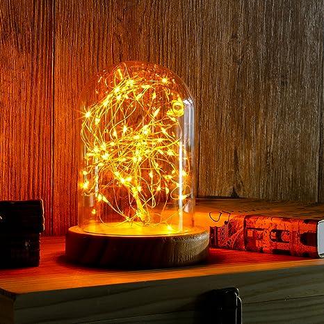 omonic portátil funciona con pilas lámpara de cúpula de pantalla tarro de cristal Bell Base de bambú decoración de luces de hadas de la secuencia LED ...