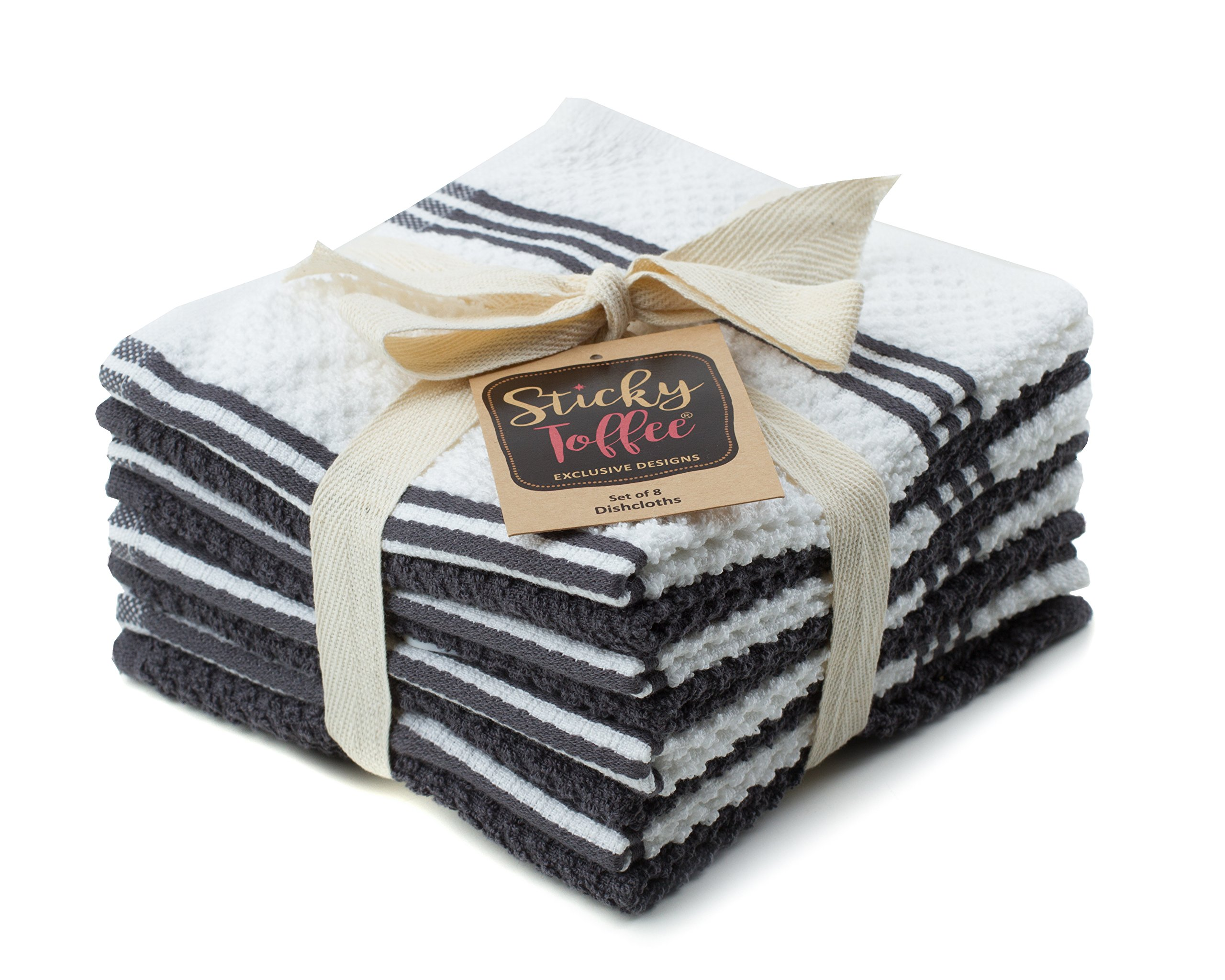 Sticky Toffee Cotton Terry Kitchen Dishcloth, Gray, 8 Pack, 12 in x 12 in by Sticky Toffee (Image #4)