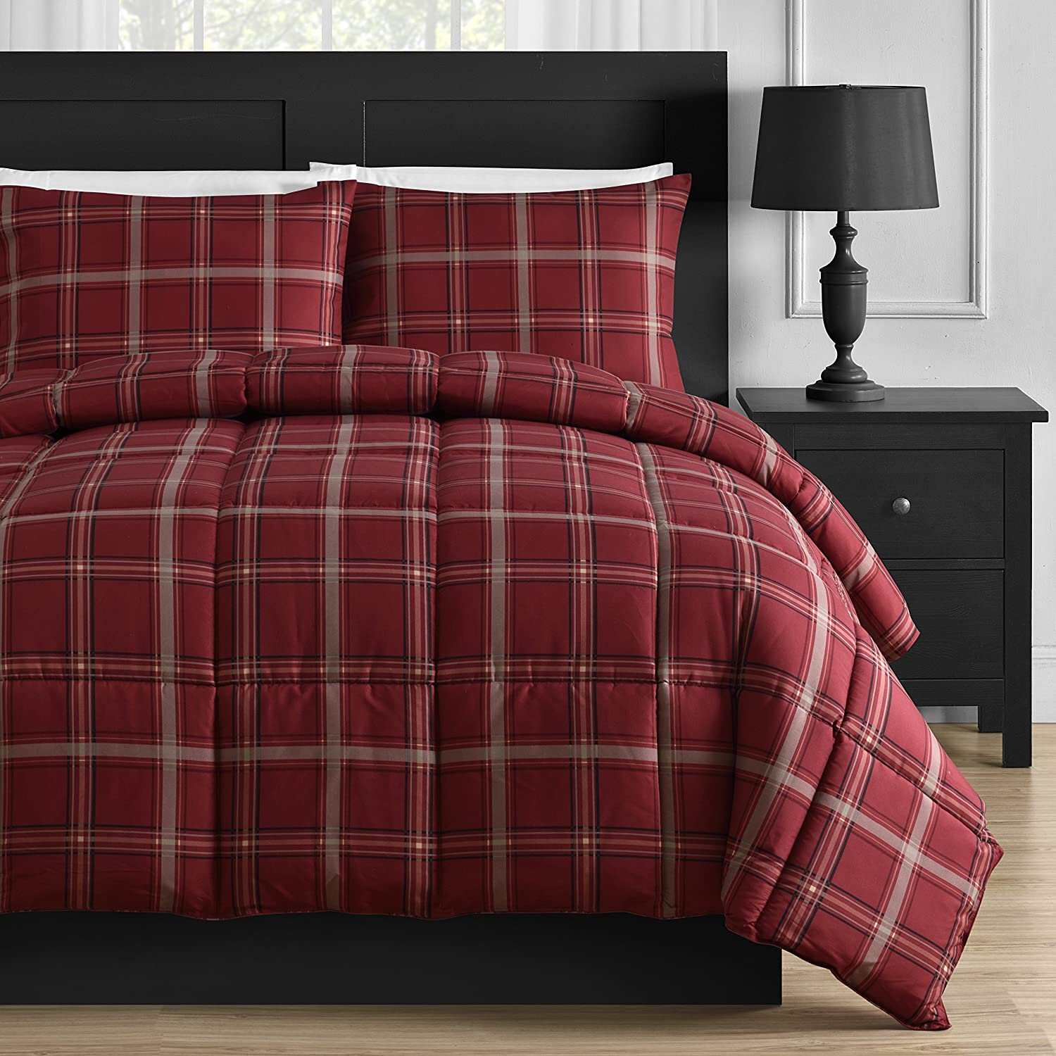 Comfy Bedding Luxurious Rose Red Plaid Down Alternative 3 Piece Comforter Set