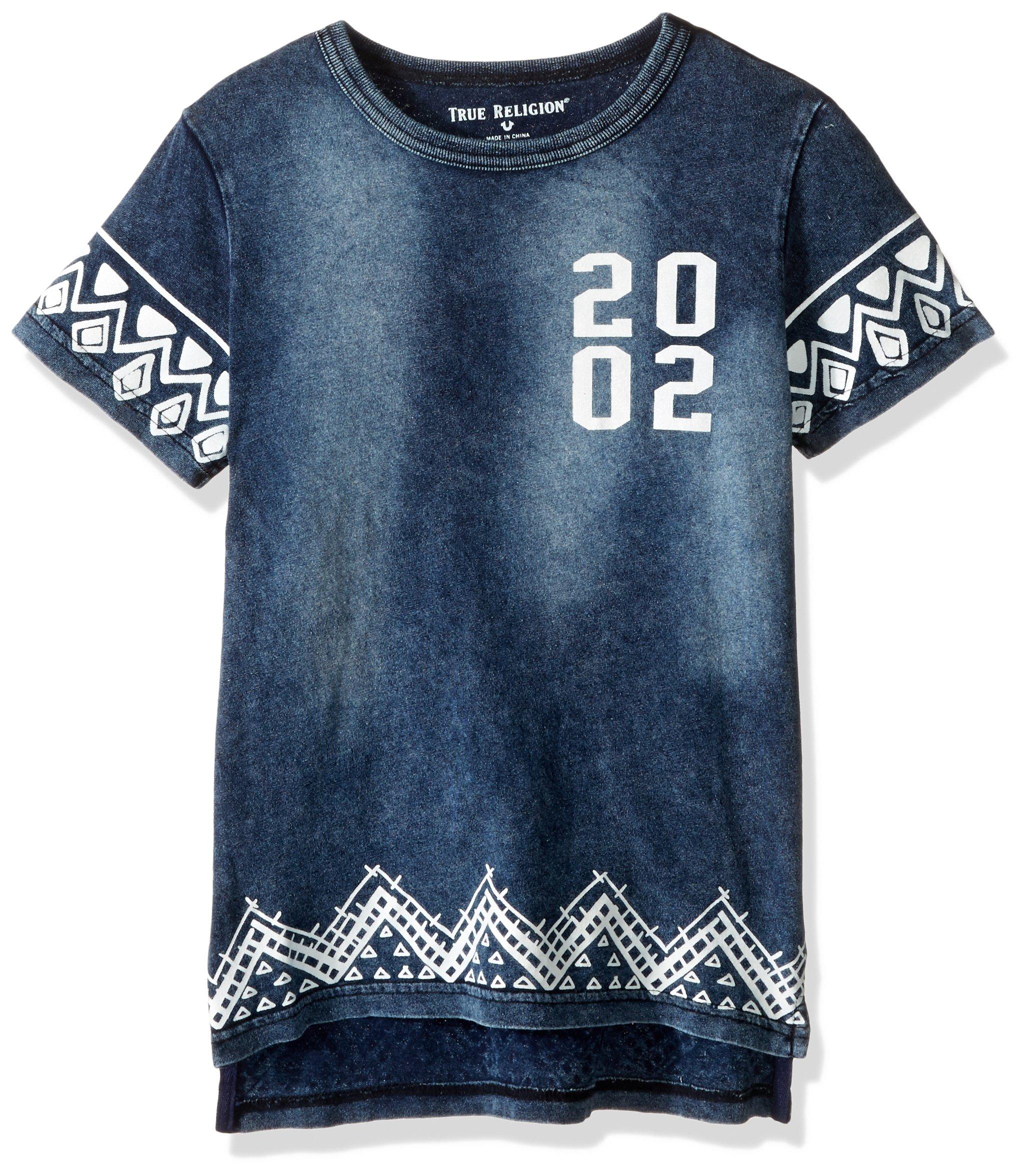 True Religion Boys' Little Logo Tee Shirt, Border Print in 7