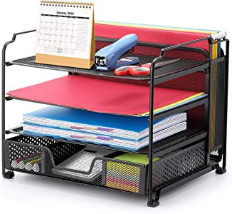 Simple Trending 4-Trays Mesh Office Supplies Desk Organizer, Desktop Hanging File Holder with Drawer Organizer and Vertical Upright Section for Office Home, Black