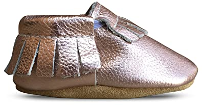 5a908d2c5e7848 Lucky Love Baby Infant Moccasins for Girls Size 2 Leather Shoes Rose Gold