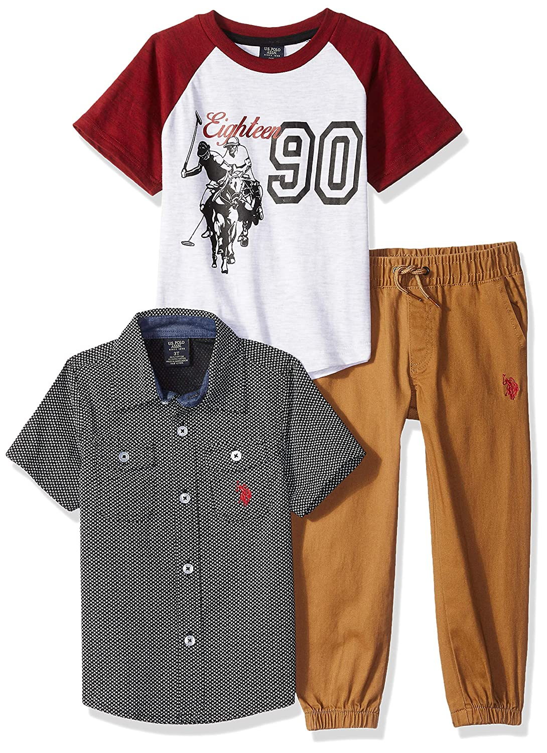 U.S. Polo Assn. Boys' T-Shirt, Sport Shirt and Pant Set