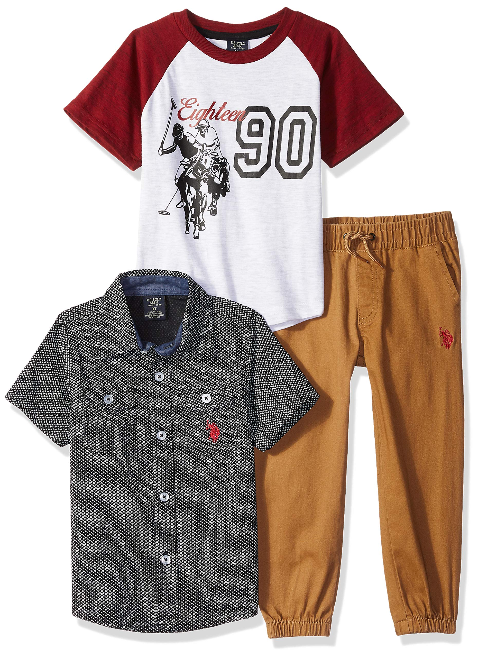 U.S. Polo Assn. Boys' Little T, Sport Shirt and Pant Set, British Tobacco Jogger Multi Plaid, 7