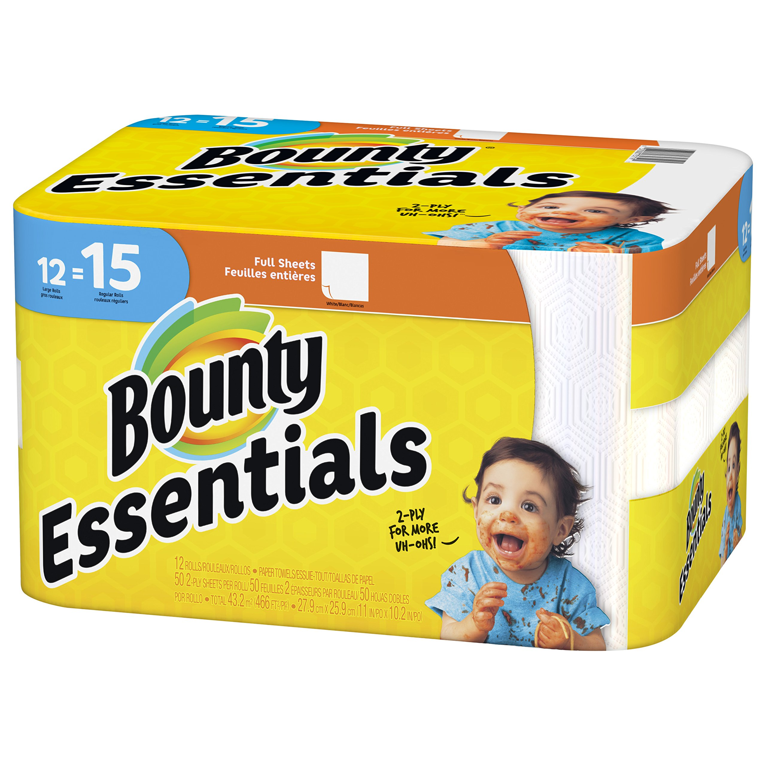 Bounty Essentials Full Sheet Paper Towels, 24 Large Rolls by Bounty (Image #2)