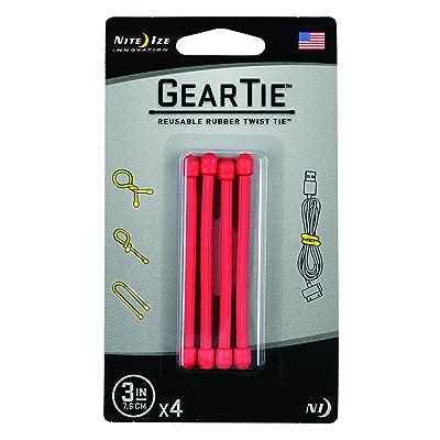 "Nite Ize GT3-4PK-10 Gear Reusable Rubber Twist Tie, 3"" - 4-Pack, Red - Ratchet Tie Downs - .com"