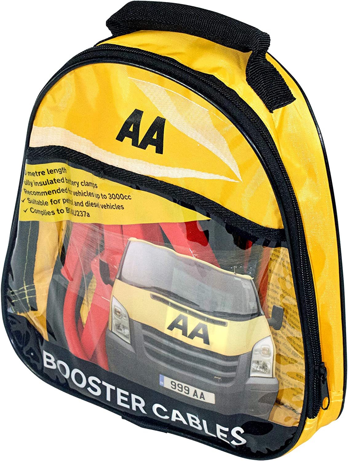 AA Car Van Jump Leads Start Up Booster Power Cables 3 Metres Long Up to 3000cc
