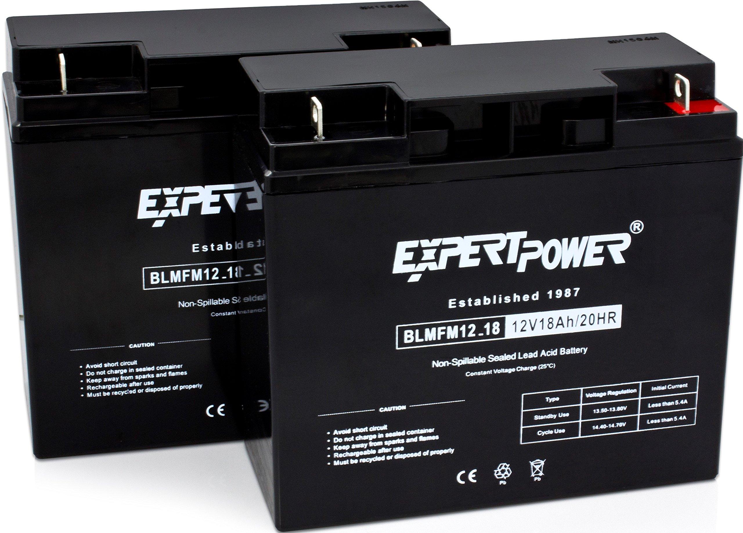 ExpertPower EXP12180-2 Standard  RBC7 Replacement Rechargeable SLA Battery (Reuse Existing Connectors, 12 Volt 18 Ah), 2 Pack