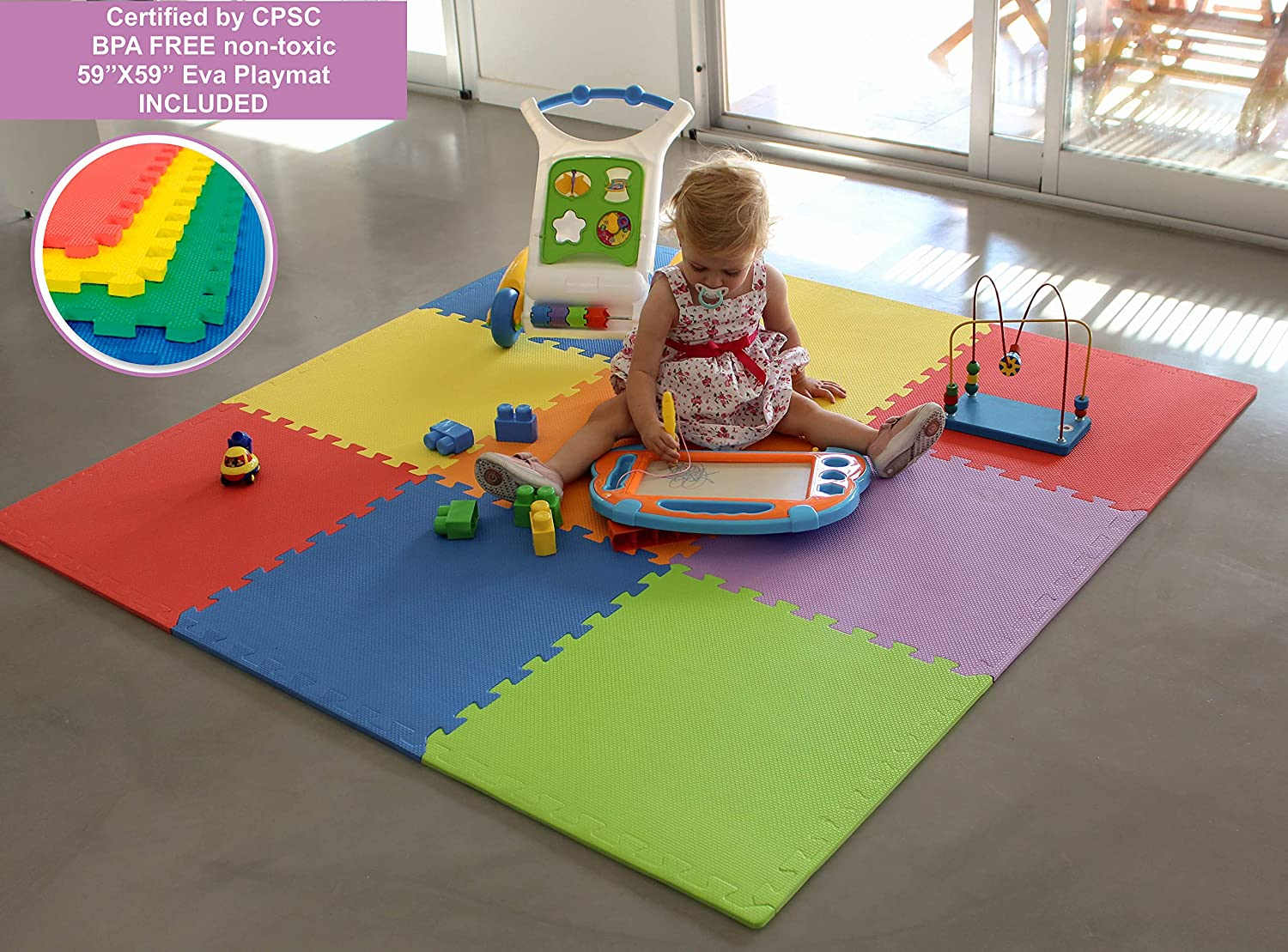 Children Activity Center Fitted EVA Floor Mats Panel with Gate Door for Babies Extra Wide Pack and N Play Mattress Play Yard 8 Pieces Nest Child BBNet Baby Playpen with Play MAT Included