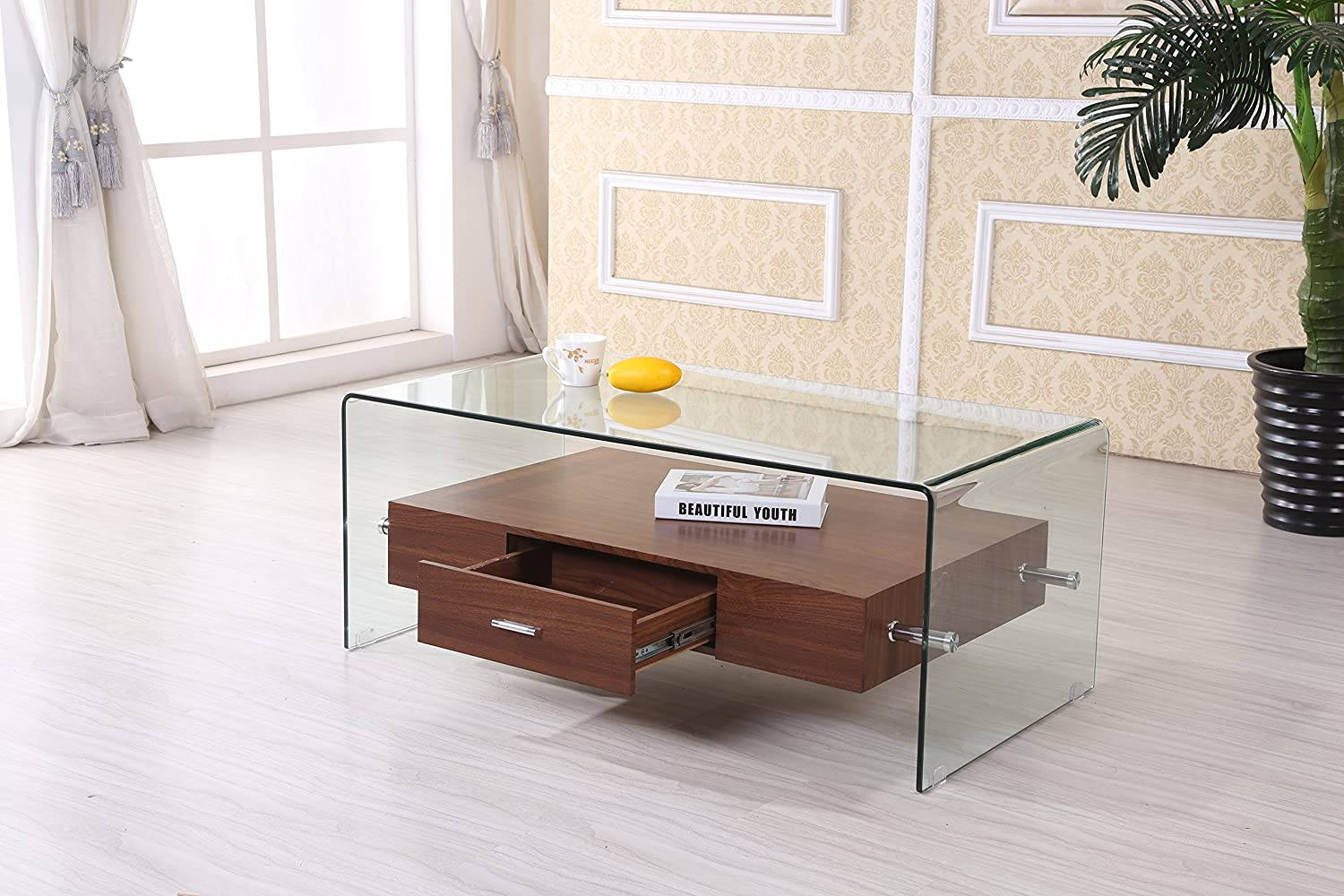 Amazon Com Best Quality Furniture Ct94 Modern Cherry Glass Coffee