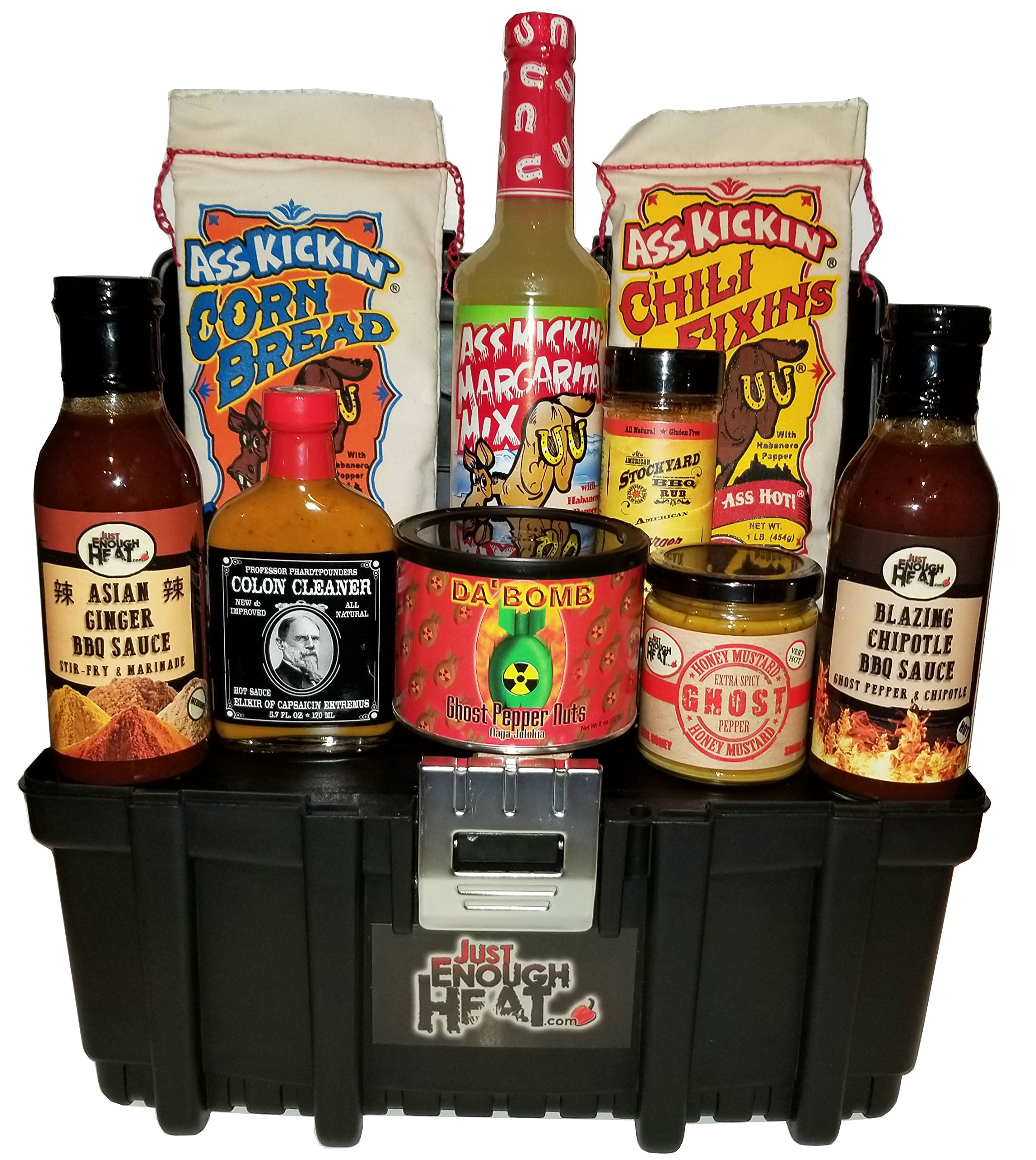 Spicy Toolbox Gourmet Gift Set - Hot Sauce Food Basket for Men & Women by Just Enough Heat
