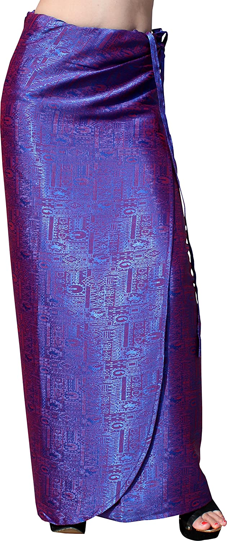 bluee purple Raan Pah Muang Brand Thick Geometric Stamped Thai Soft Silk Formal Wrap Skirt