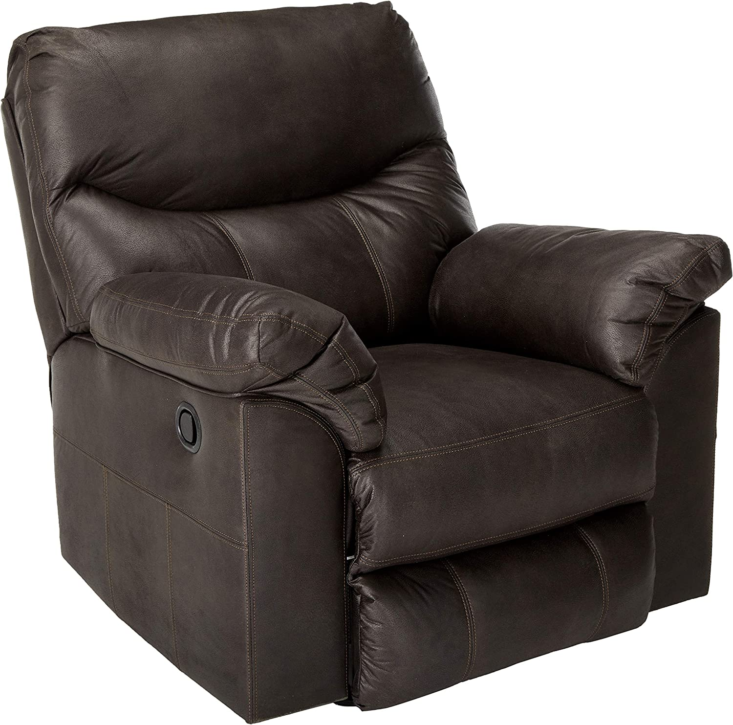 Signature Design by Ashley - Boxberg Contemporary Faux Leather Rocker Recliner, Dark Brown