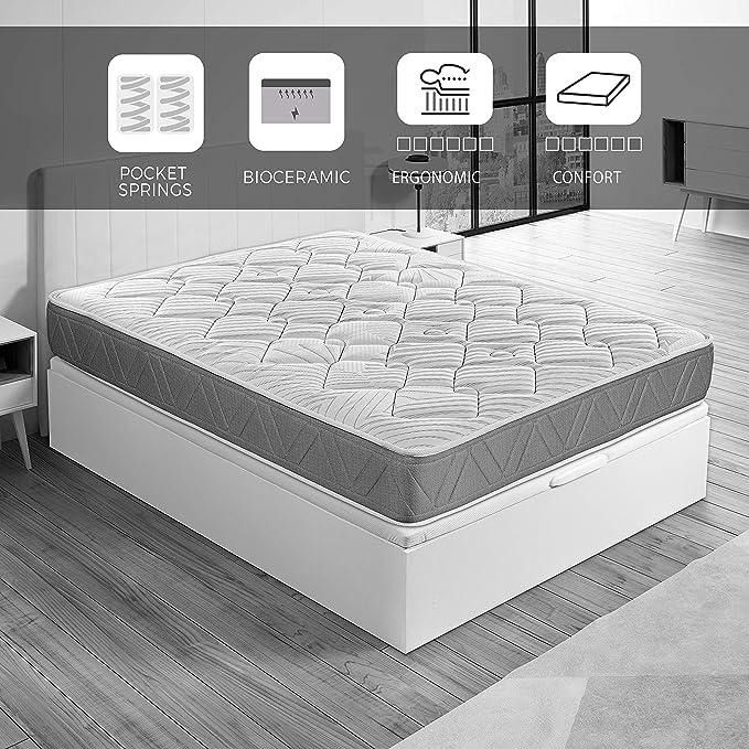ROYAL SLEEP Colchón de muelles ensacados y viscocarbono con Hilo biocerámico, Confort Alto, firmeza Media-Alta 90x190, Ceramic Pocket