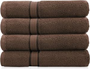 COTTON CRAFT - 4 Pack - Ultra Soft Oversized Extra Large Bath Towels 30x54 Chocolate- 100% Pure Ringspun Cotton - Luxurious Rayon Trim - Ideal for Daily Use - Each Towel Weighs 22 Ounces