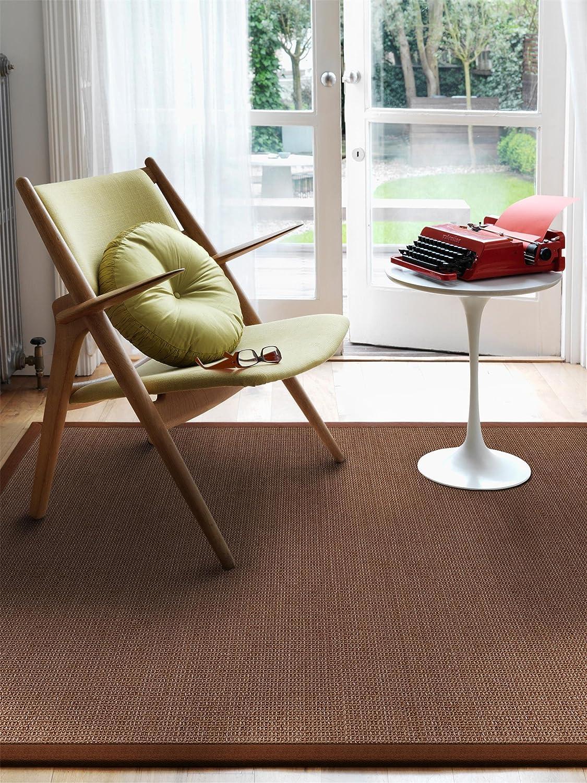 Benuta Sisal Teppich mit Bordüre Braun 140x200 cm   Naturfaserteppich für Flur und Wohnzimmer