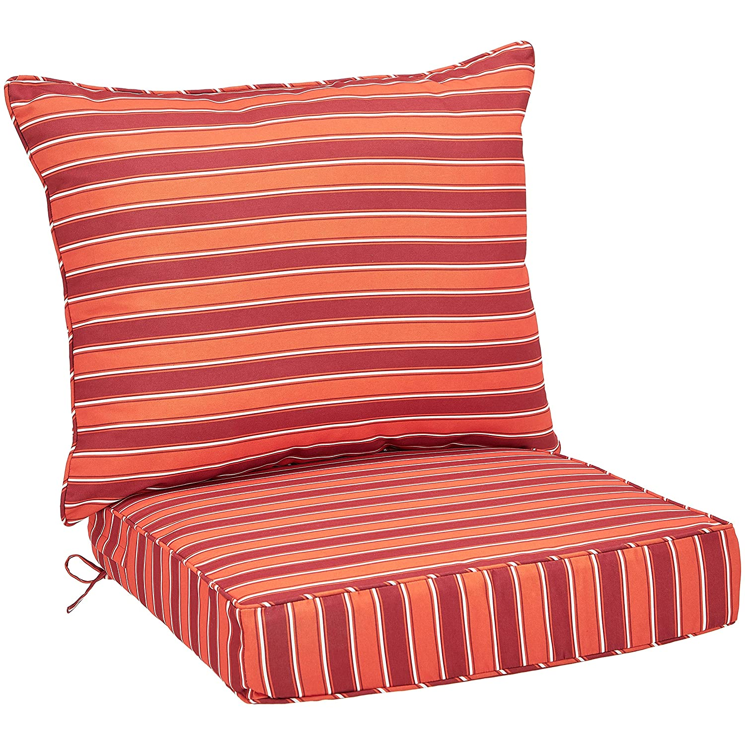AmazonBasics Deep Seat Patio Seat and Back Cushion- Red Stripes
