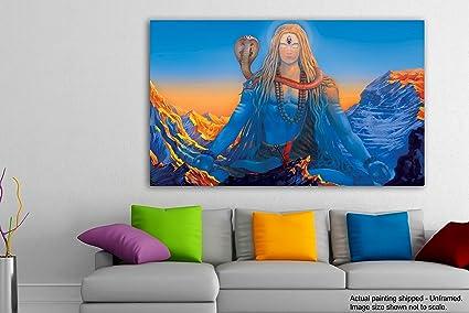 Tamatina Religious Art Canvas Painting - Shiva Mahadev - Lord Shiva ...