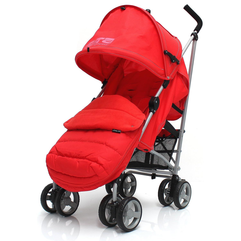 ZETA VOOOM - Warm RED + MC Deluxe 2in1 footmuff liner zip off padded Warm Red + RAINCVER Baby Travel