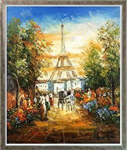 "La Pastiche Gardens Near The Eiffel Framed Oil Painting, 26.4"" x 22.4"", Multi"