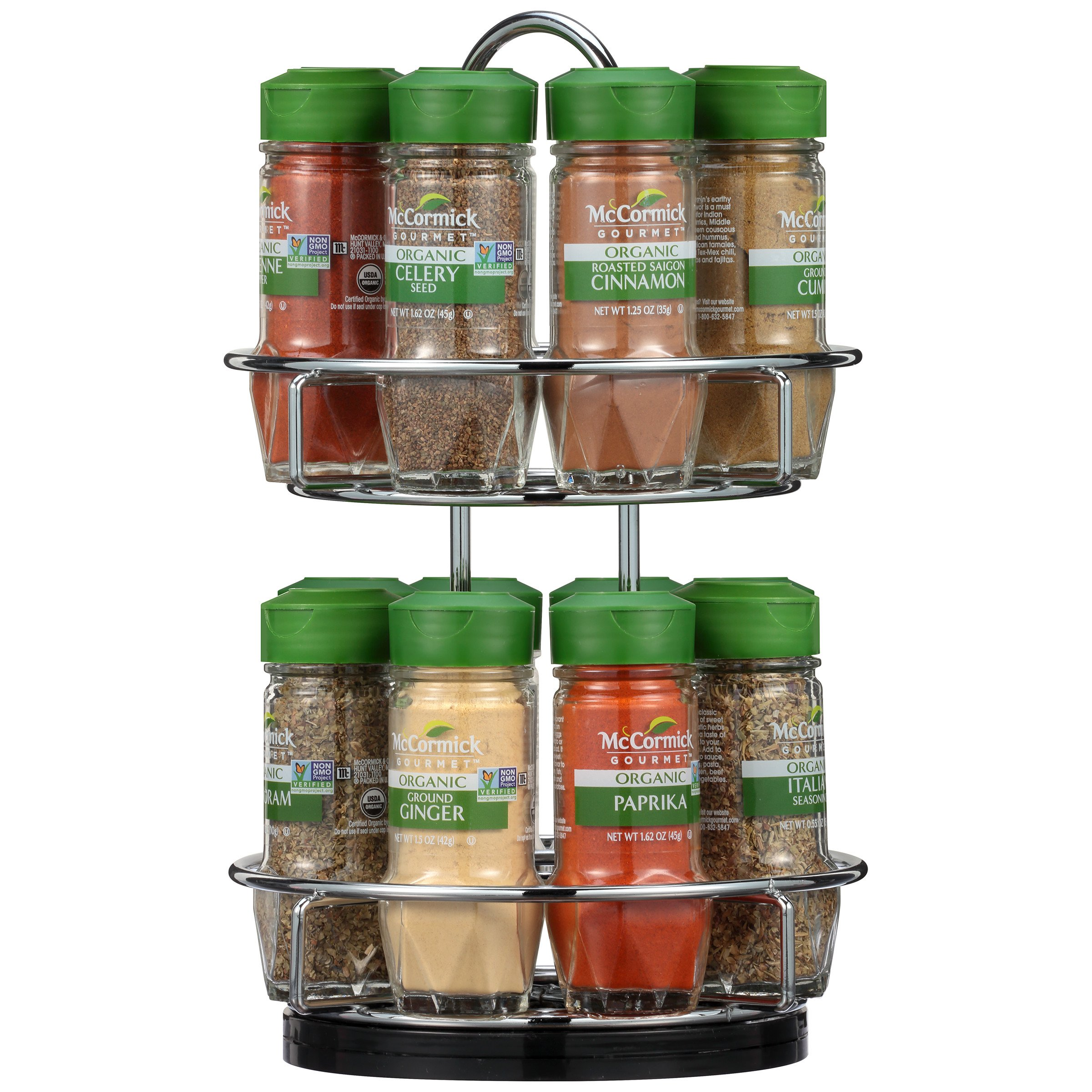McCormick Gourmet Two Tier Chrome 16 Piece Organic Spice Rack, 15.41 oz by McCormick Gourmet