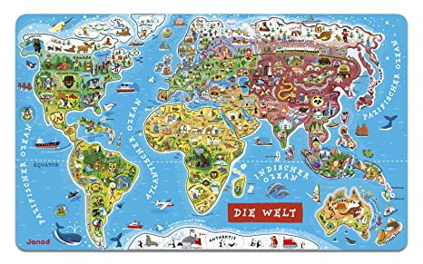 Janod J05490 Puzzle Monde Magnetique Version Allemande Bois