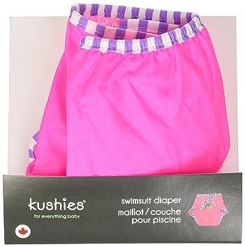 Large Fuchsia Daisy Print Kushies Swim Diaper