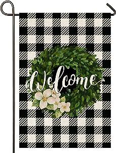 Atenia Welcome Burlap Garden Flag, Double Sided Monogram Garden Outdoor Yard Flags for Summer Decor (Garden Size - 12.5X18)