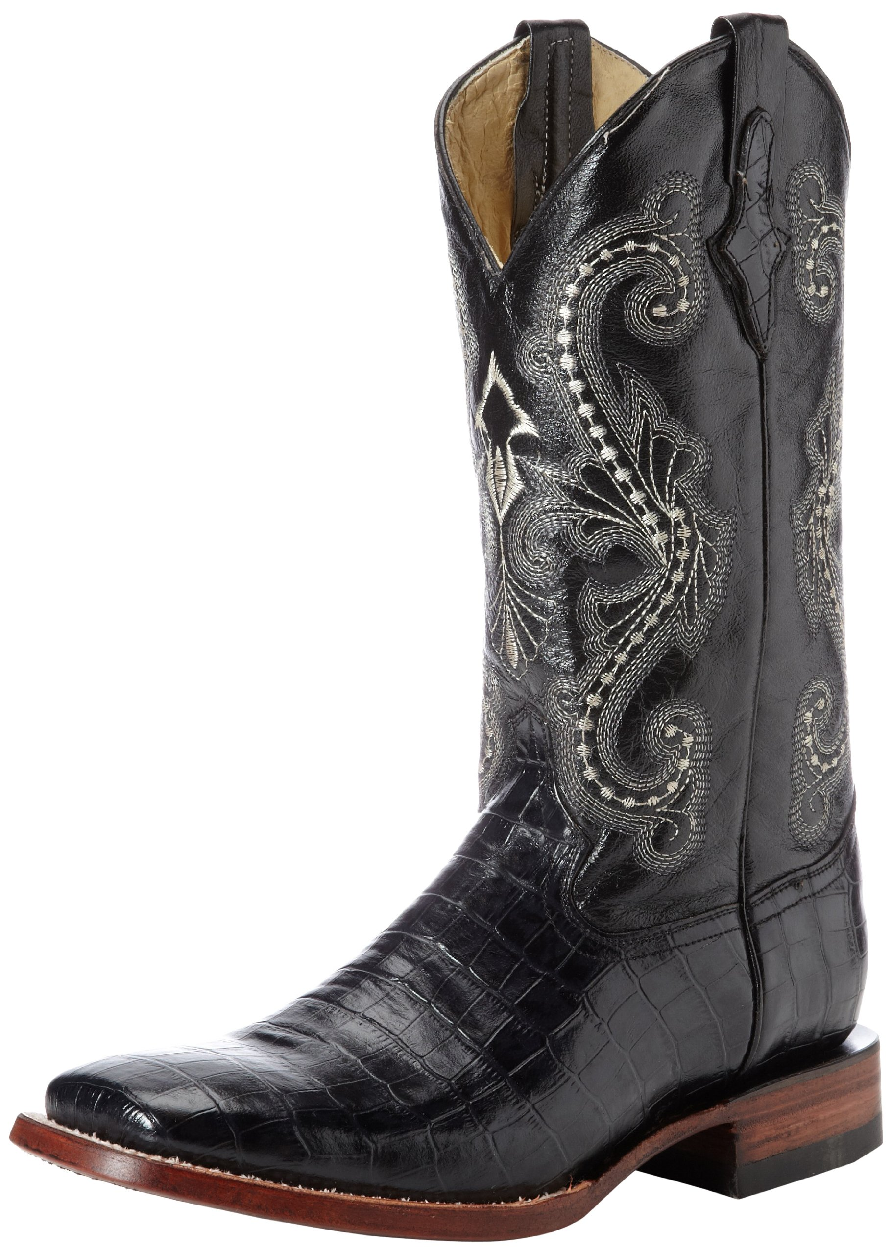 Ferrini Men's Print Belly Alligator S-Toe Western Boot,Black,7.5 D US