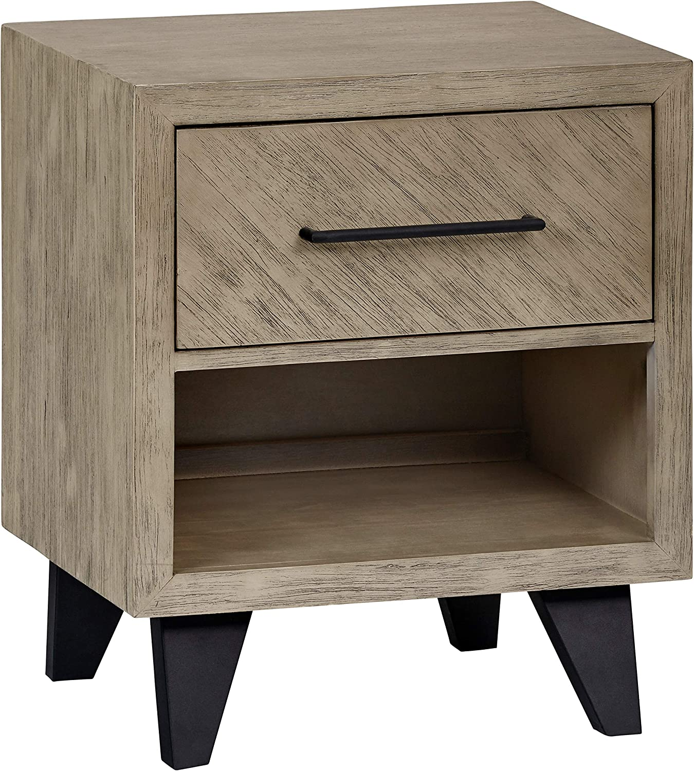 Amazon Brand – Stone & Beam Baird Cube-Shaped Acacia Nightstand with Legs, 22