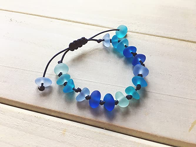 131f04c9de87f Blue Sea Glass Bracelet, Adjustable String Knot Sennit Bracelet, Sea Glass  Jewelry, Beach Glass, Marine Jewelry